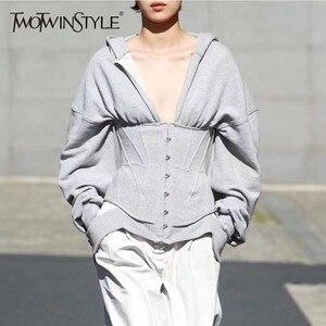 Image 1 - TWOTWINSTYLE Spring Sweatshirts For Womens Hoodies Long Sleeve V Neck High Waist Slim Sweatshirt Tops Female Fashion New 2020
