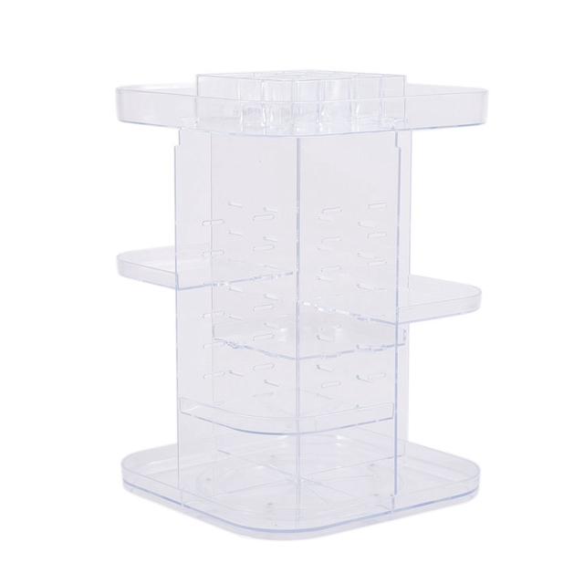 360 Degrees Rotating Cosmetic Storage Rack Lipstick Jewelry Case Holder Display Stand Cosmetic Box Makeup Organizer