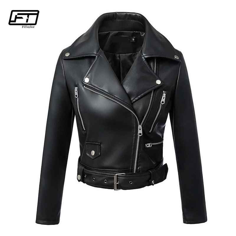 7c966b633 Fitaylor Black Faux Leather Jacket Women Spring Autumn Short Soft Pu ...