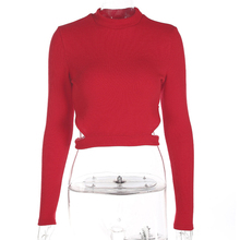 Women Autumn Sexy Hollow Long Sleeve Round Neck Short Section Red Outwear Sweater Tops