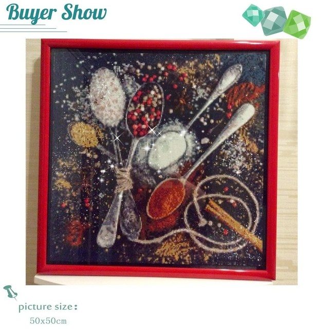 DIY Diamond Painting Kitchen Cross Stitch Diamond Embroidery Full Square Picture Rhinestones Diamond Mosaic Seasoning Home