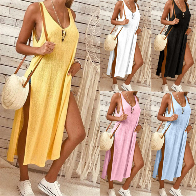 2019 Ladies Women Dress Summer Solid Sleeveless Side Split Party Club Casual Dresses Plus Size