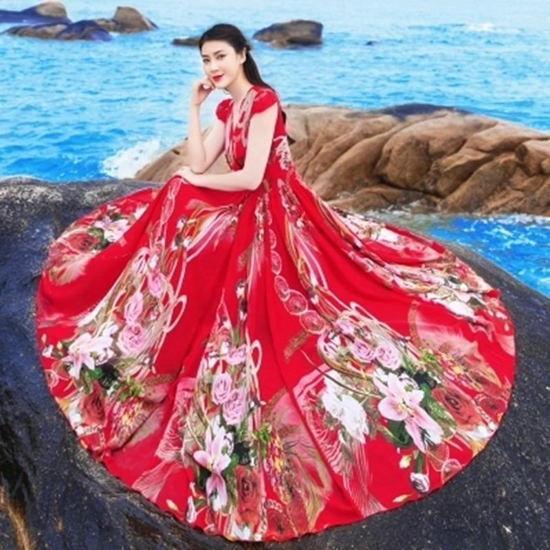 Robes Longue V black Rétro Sans Super D'été Robe Femmes Mode Rouge En Plage Col red Fête Nouvelles blue Mousseline Manches As271 2019 Vêtements De w7qFxOaO