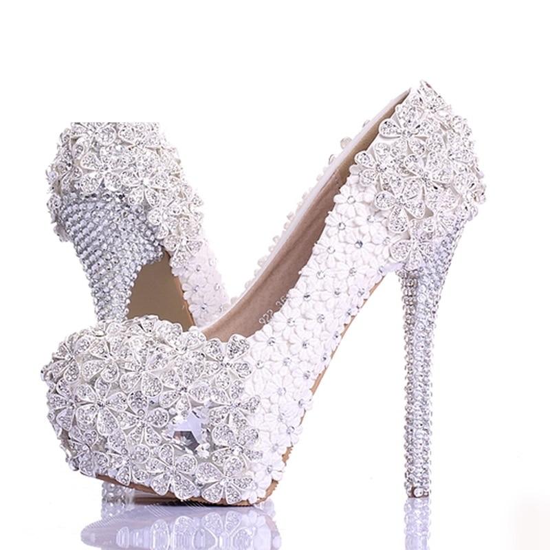 white Blanc Soirée 12cm Luxe Fleur Hauts Bal Heels 2018 Pompes White Chaussures Nouvelle De 14cm Strass À Talons Printemps Heels Mariage Main Conception La Dentelle Mariée 10cm qCdqg