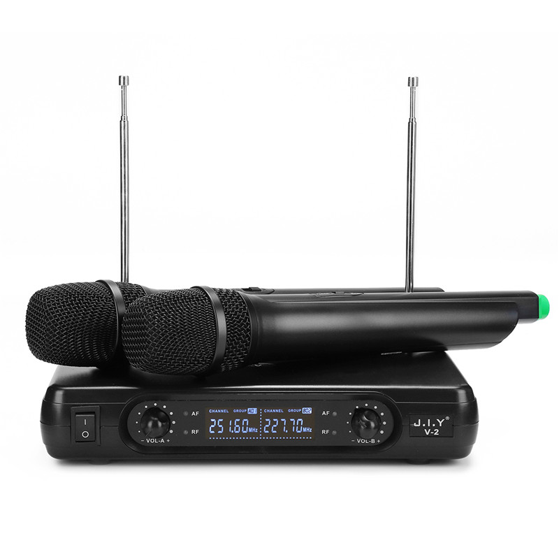 High-fidelity Wireless Microphone System 2 X Microphones Reproduce 100M True Voice Voice Compression Large Receiving Range