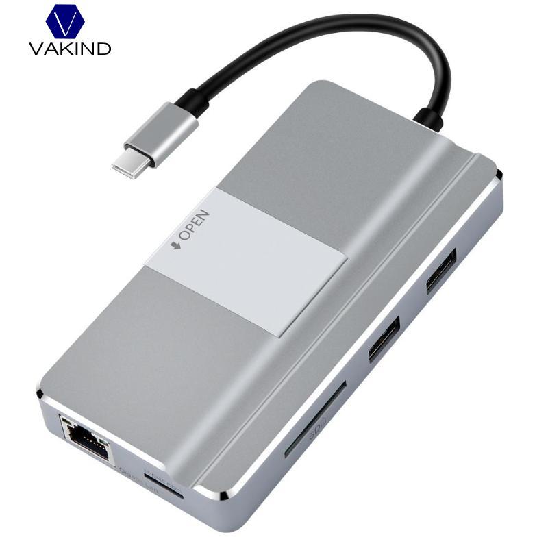 VAKIND YC217 USB Hub Type C vers HDMI USB 3.0 RJ45 TF Lecteur de Carte Adaptateur pour MacBook Huawei P20 Pro