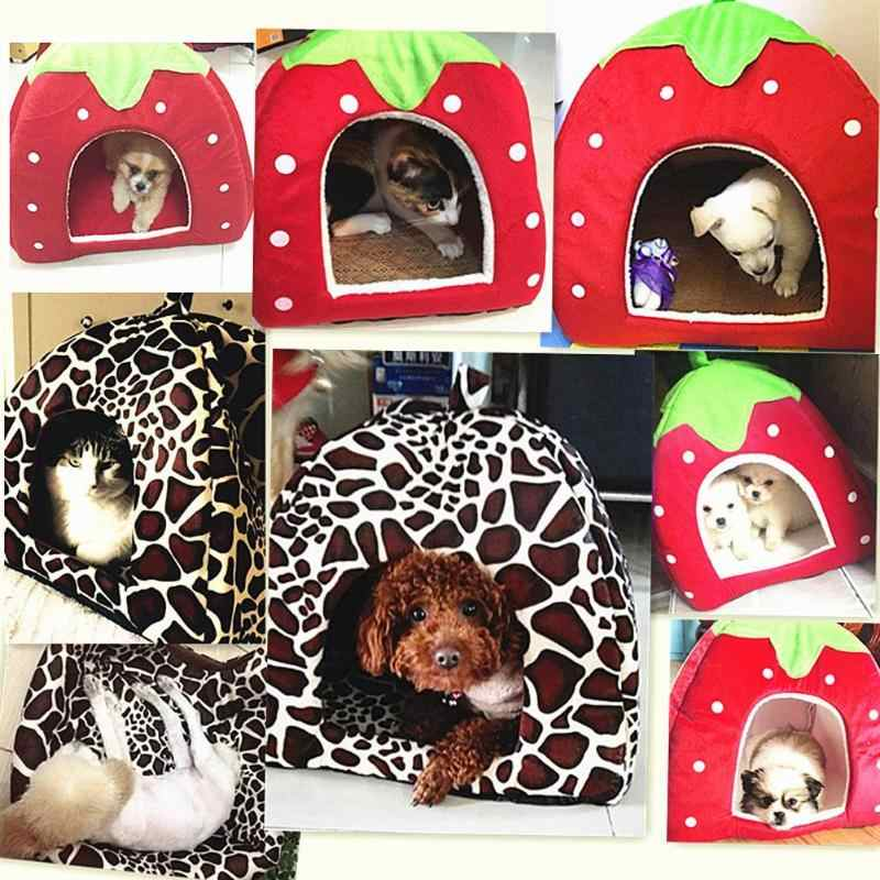 Molle della Fragola Pet Dog Cat House Leopardo Tenda Kennel Doggy Inverno Caldo Cuscino Carrello Letto Animale Cave 2019 di Modo Prodotti per animali domestici