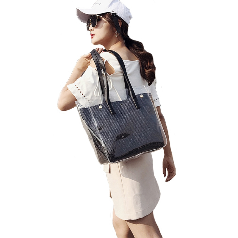 2Pcs Composite Bags Summer Beach Bags Weave Tote Women Straw Bags Ladies Pvc Shoulder Bags Handbags Purses Female2Pcs Composite Bags Summer Beach Bags Weave Tote Women Straw Bags Ladies Pvc Shoulder Bags Handbags Purses Female