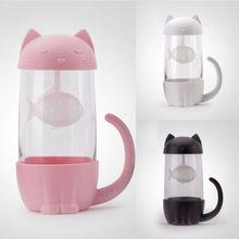Милая стеклянная чашка для чая, кота с фильтром для рыбы, стеклянная чашка для заварки чая, фильтрующая кружка для домашнего офиса, подарочный контейнер
