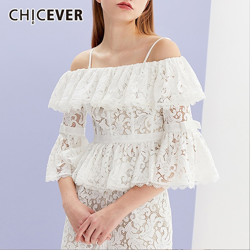 CHICEVER Summer Lace Hollow Women T shirt Slash Neck Spagetti Strap Flare Three Quartr Sleeve High Waist Short Lady Top Clothing