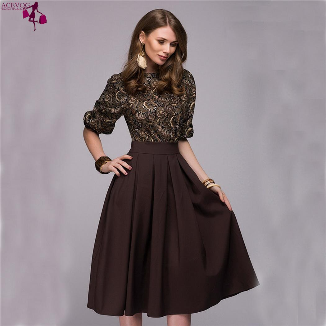 32af5c482a61 Waist Sleeve Party Middle Casual Dress Elegant Casual Half Pleated Women  Patchwork O-Neck Autumn