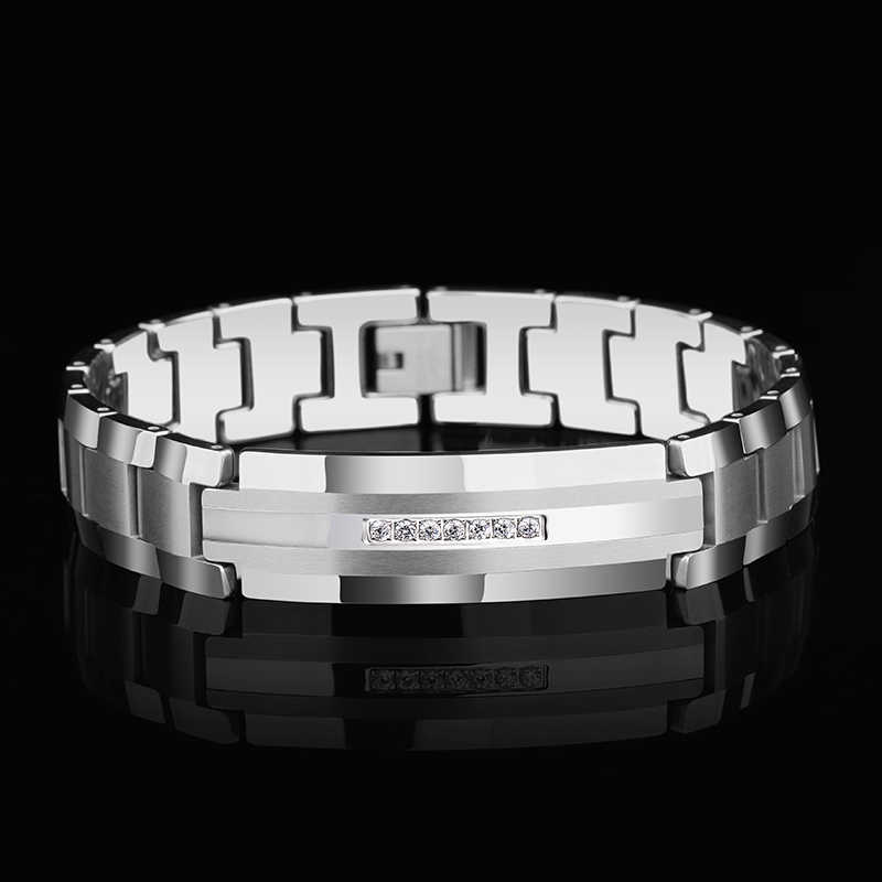 New Arrival High Quality 14mm Width Tungsten Carbide Bracelets for Man inlay CZ Stones Silver/Gold Tones Length 20cm Man Gift