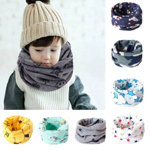 Kids Scarf Winter Soft Cotton Children's Neck Cover Warmer Baby Snood Scarves