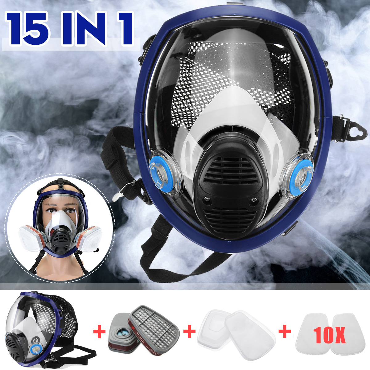 15 in 1 Large Size Full Face 6800 Gas Mask Facepiece Respirator Painting Spraying Chemical Laboratory