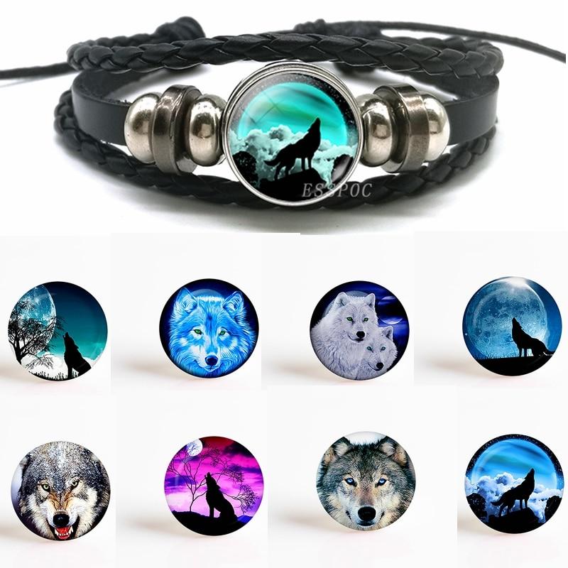 1 Pcs Fashion Accessoires Wolf En Volle Maan Zwarte Knop Lederen Armband Sieraden Ronde Glass Dome Cabochons Voor Hanger Gift