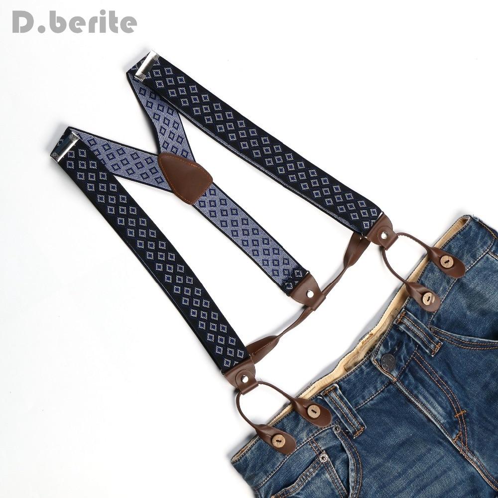 New Mens Adjustable Button Holes Unisex Suspenders Blue Plaids Womens Braces BD759