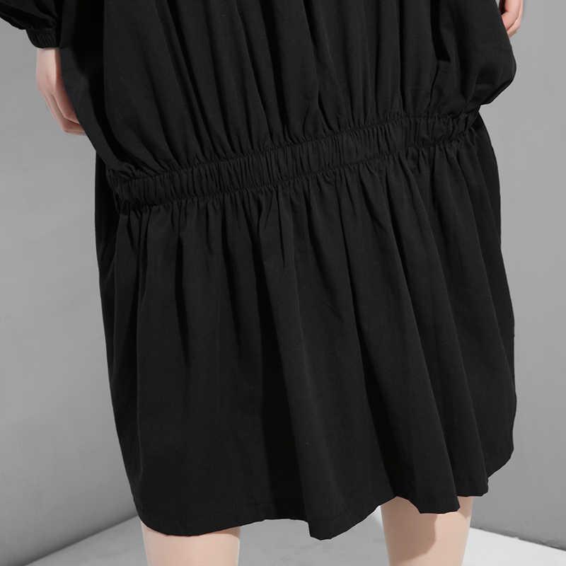 [EAM] 2019 новое осенне-зимнее черное платье с отворотами и длинными рукавами с буквенным принтом сзади и разрезом большого размера F955
