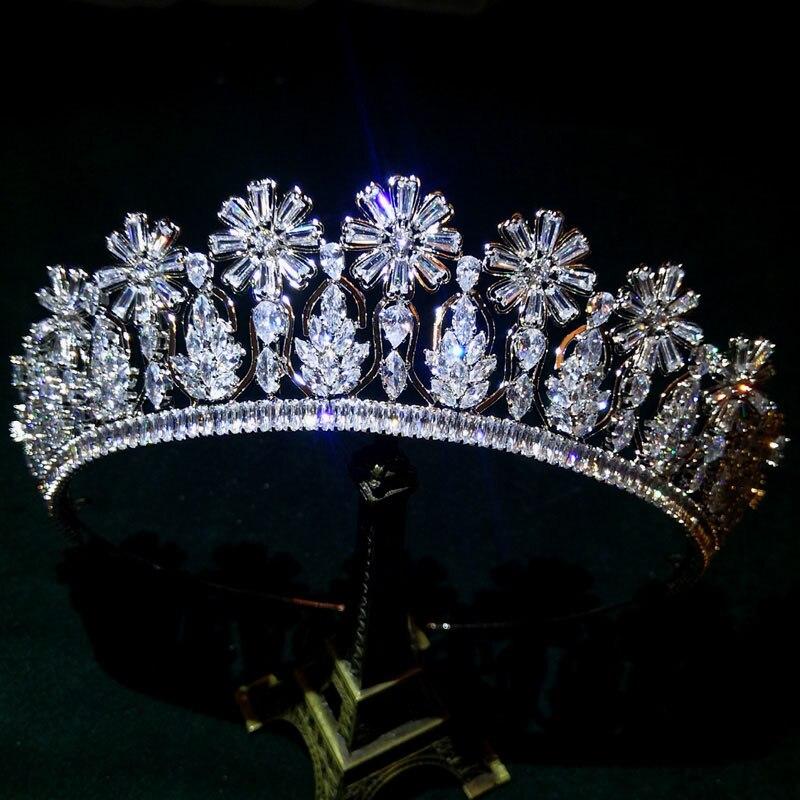 European Sparkling Flower AAA Zircon Bridal Tiaras Crowns Diadem Zirconia Wedding Hairbands For Brides Bridesmaid Women