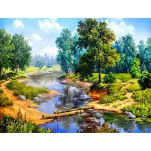 """Алмазная мозаика 5D DIY Алмазная картина """"с изображением леса и реки"""" Алмазная вышивка крестиком Горный хрусталь живопись"""