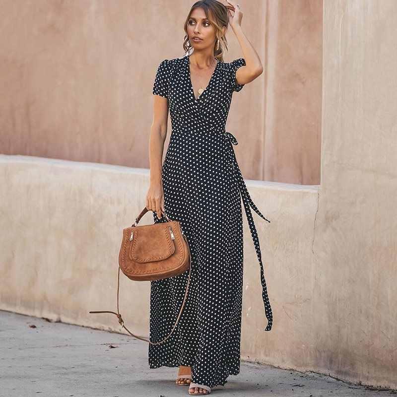 Sjuly летние макси платья для женщин в горошек сексуальный халат винтажное свободное кружевное тонкое женское повседневное праздничное черное элегантное длинное платье