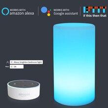 Цилиндрическая форма WiFi умная настольная лампа, совместимая с Alexa Голосовое управление, ручной сенсорный светодиодный Ночной светильник, светодиодный светильник с помощью приложения