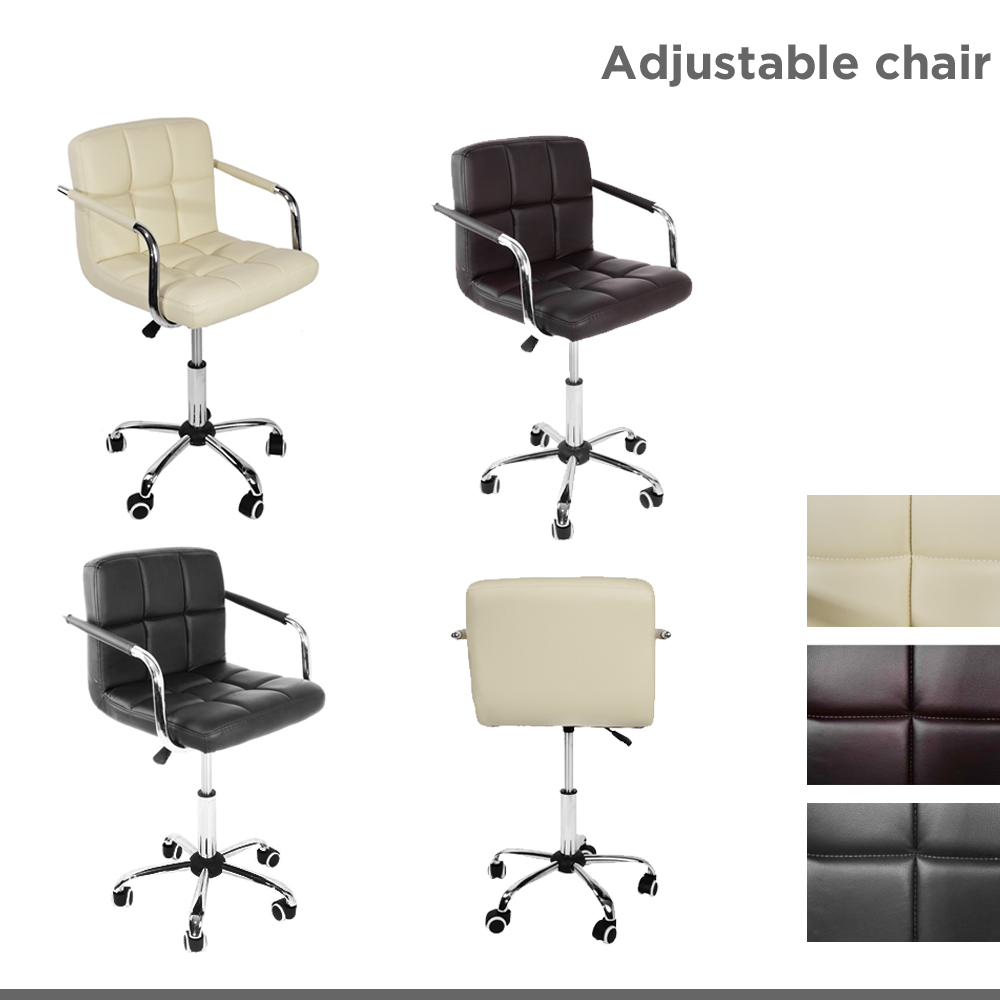 Panana Office Small Chair Faux Leather Chrome Bedroom Gaming Seating With 5 Castor-wheel Arm Rest Adjustable Height