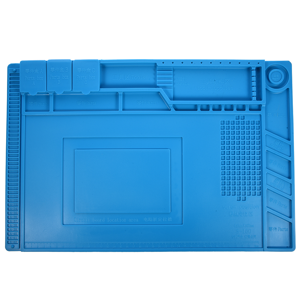 HHO-S-160 45x30cm Heat Insulation Silicone Pad Desk Mat Maintenance Platform For BGA Soldering Repair Station With Magnetic Se