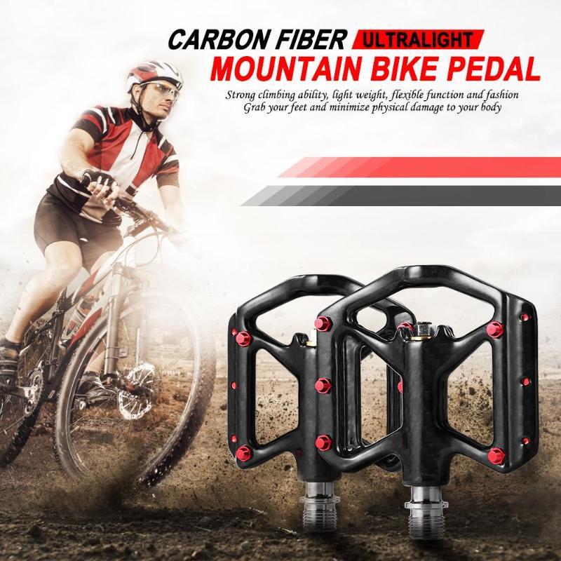 Pédales de vélo de route vtt ultralégères en Fiber de carbone essieu en titane léger repose-pieds pièces de vélo accessoires d'équitation en plein air