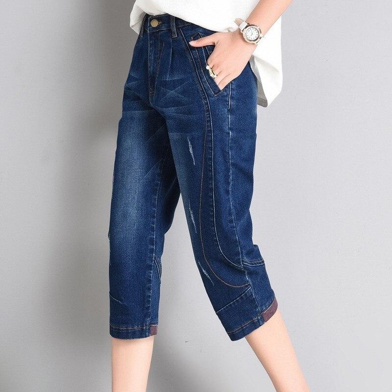 2020 Summer High Waist Jeans Woman Capris Casual Harem Trousers Boyfriend Jeans For Women Stretch Denim Short Jeans Feminino