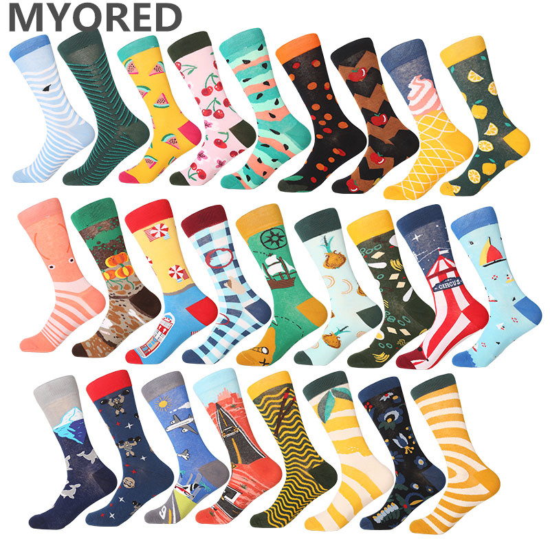 MYORED casual men's   socks   colorful funny cartoon crew   socks   for couple business dressing fruit sea food flower design gift sox
