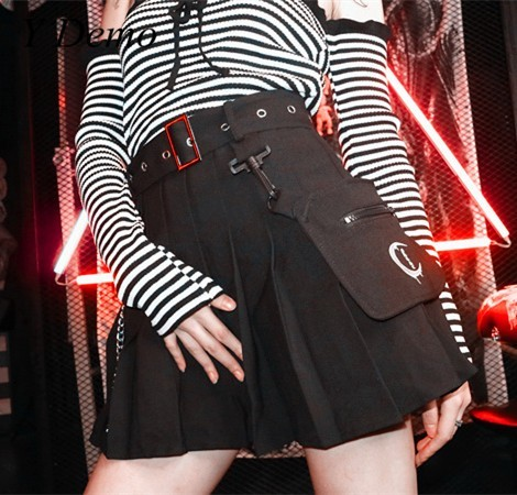 97f2ca3c68 Gothic Style Pocket Chain Buckle Irregular Pleated Skirt Women Moon  Embroidery Half-body Short Mini Skirt