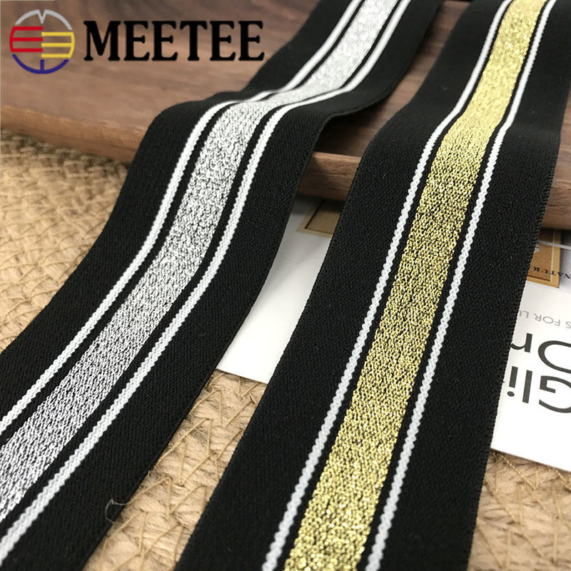 Meetee 3Meter 40mm Gold Silver Silk Elastic Band Thick Soft Rope Rubber Cloth Pant DIY Sewing Crafts Supplies AP535