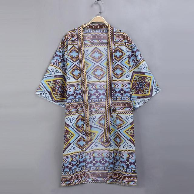 Printed Half Sleeves Long Beach Loose Women Pattern Kimono Cover-Up Summer Casual