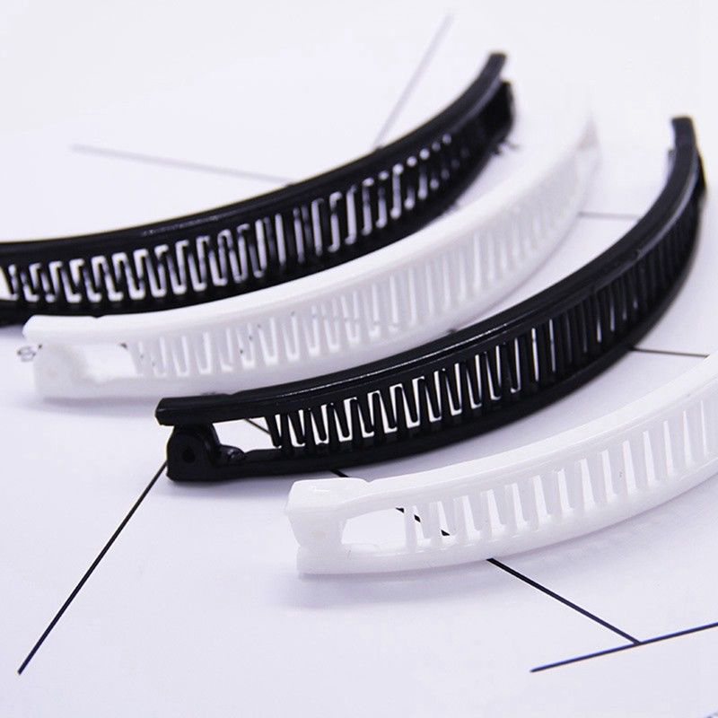 Hair Clip Hairpin Shape Banana Korea Comb Clip Black/White Plain Hair Comb Ponytail Holder Liu Hai Comb