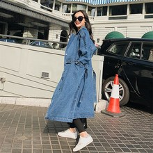 New Arrival Trench Coat Women Loose Denim Trench Coat Female Single-breasted Long Jeans Outwears 2018 spring new women fashion trench coat female loose cardigan stitching printing long sleeved single breasted outerwear cx88