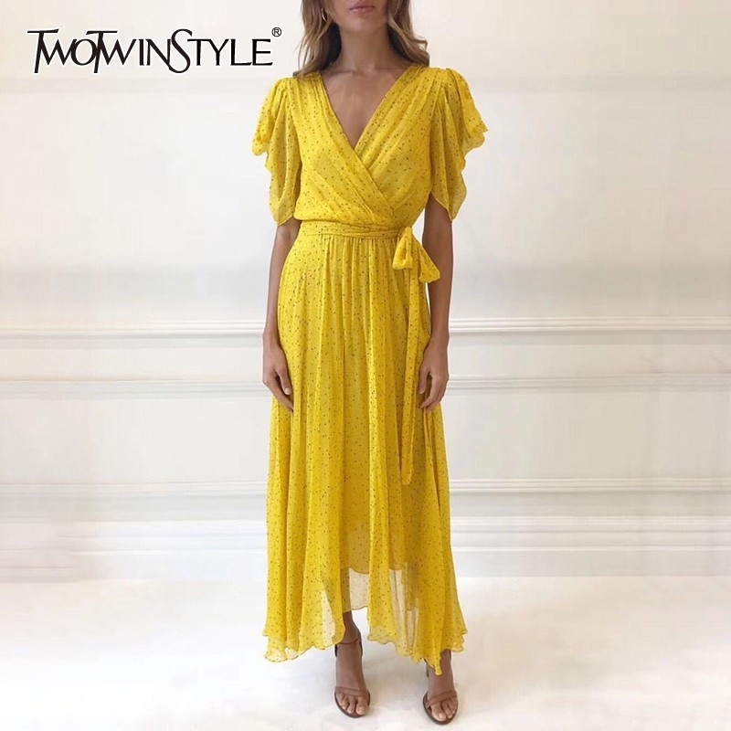 TWOTWINSTYLE Casual Print Bandages Long Dress Women V Neck Short Sleeve High Waist Ankle Length Dresses