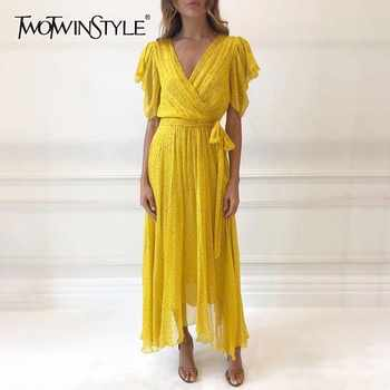 TWOTWINSTYLE Casual Print Bandages Long Dress Women V Neck Short Sleeve High Waist Ankle Length Dresses Female Spring Fashion - DISCOUNT ITEM  39% OFF All Category
