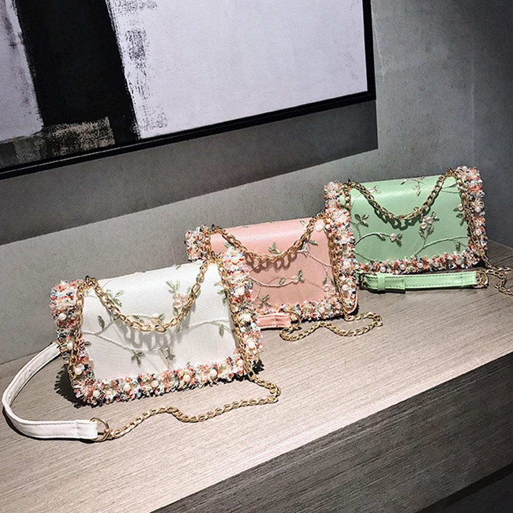PinShang Women Elegant Lace Flowers Single Shoulder Bag Portable Casual All-match Chain BagPinShang Women Elegant Lace Flowers Single Shoulder Bag Portable Casual All-match Chain Bag