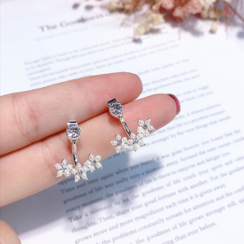 2019 Korean New Fireworks Design Simulated Pearl Flower Big Earrings For Women Bride Temperament Wedding Jewelry Gift