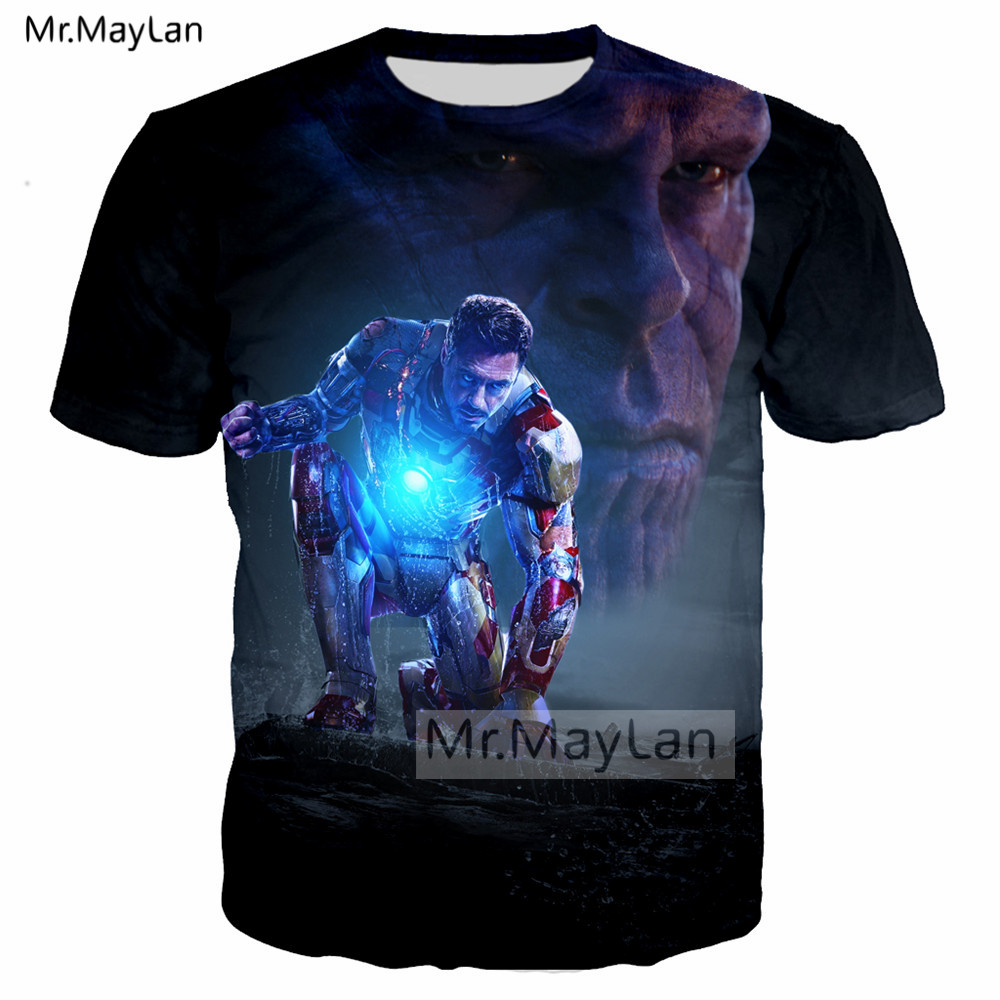 Movie Avengers Iron Man <font><b>Tony</b></font> <font><b>Stark</b></font> Thanos 3D Print Tshirt Men/<font><b>women</b></font> Hip Hop <font><b>T</b></font>-<font><b>shirt</b></font> <font><b>T</b></font> <font><b>shirt</b></font> Man 2019 New Clothes camiseta marvel image
