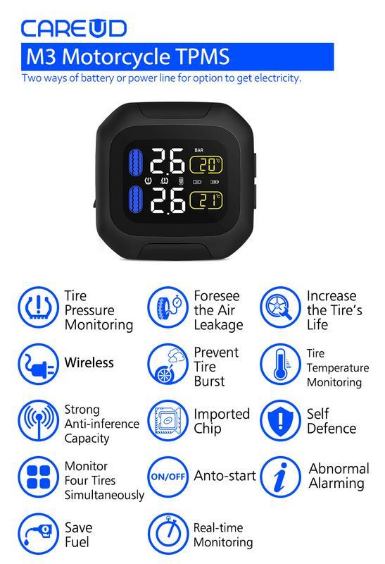 CAREUD M3 système de surveillance de la pression des pneus de moto Protection solaire écran LCD 2 capteur externe WI moteur pneu alarme Aotu - 4