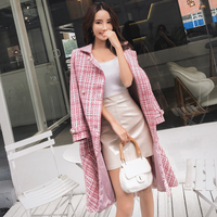 Brand Tweed Woolen Pink Coat Women Korean Robe Hiver Elegant Vintage Plaid Chic Ruffles Fishtail Autumn Winter Long Dress Coat