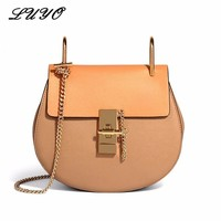 LUYO Saddle Famous Brand Luxury Handbags Women Bags Designer Genuine Leather Bag High Quality Shoulder Bag Small Chain Bag Sac
