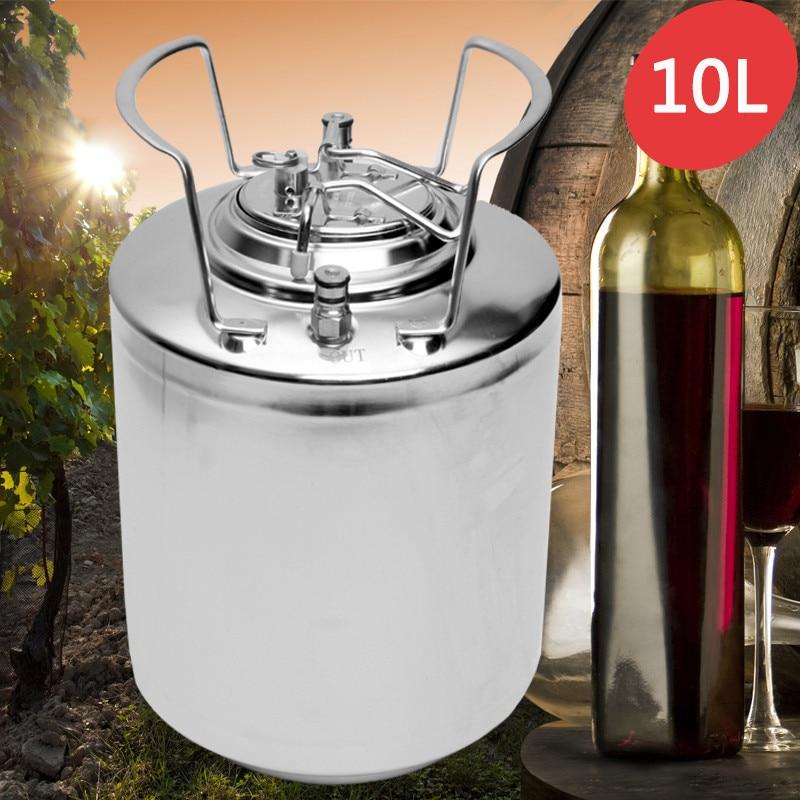 Bola Bloqueio Barril de Cerveja de aço Inoxidável 10L Pressurizado Sistema Dispensador De Cerveja Em Casa Cerveja Growler para a Cerveja Artesanal de Metal Alças
