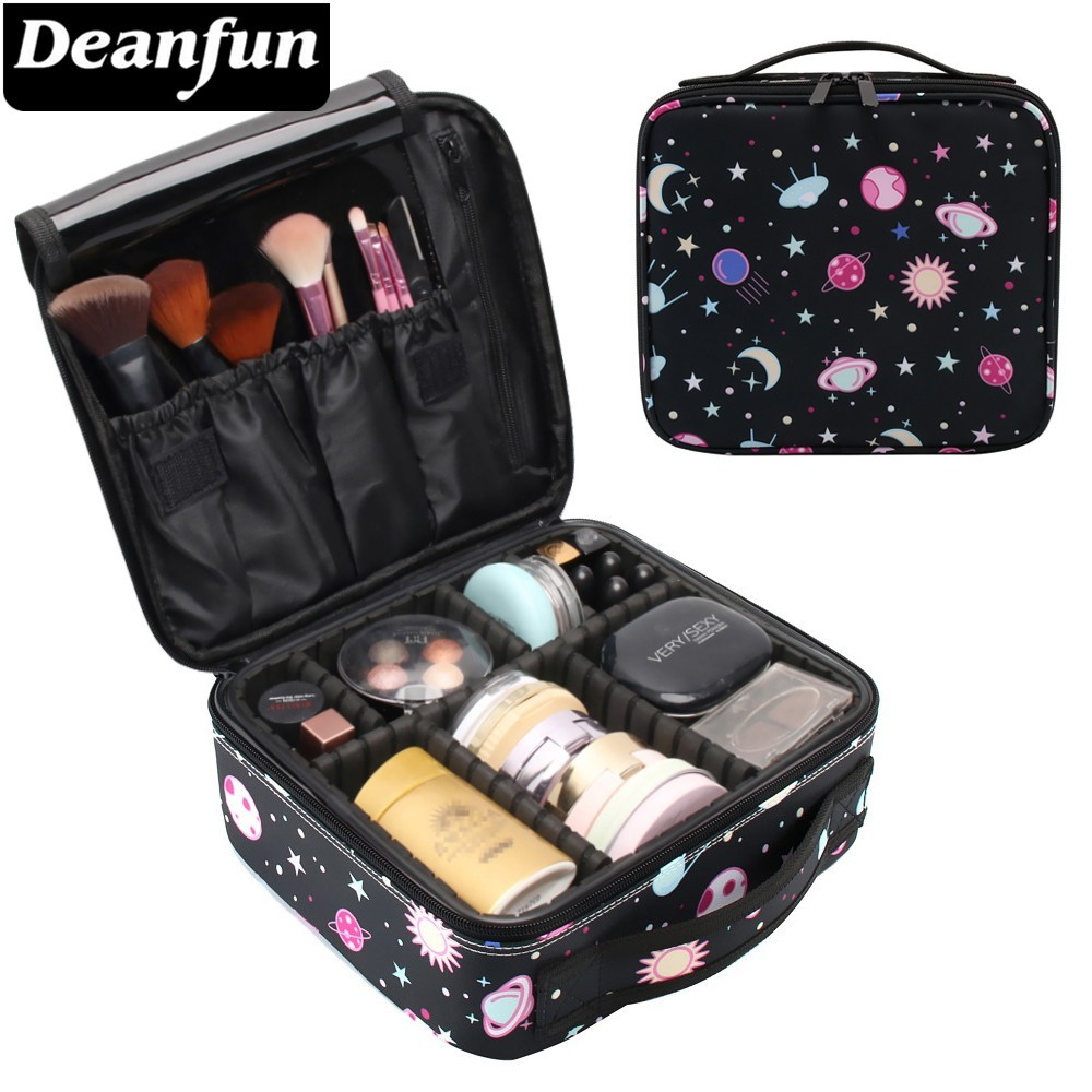 Deanfun UFO Galaxy Makeup Case Adjustable Dividers Multifunctional Cosmetic Bag Travel Organizer Train Cases 16004