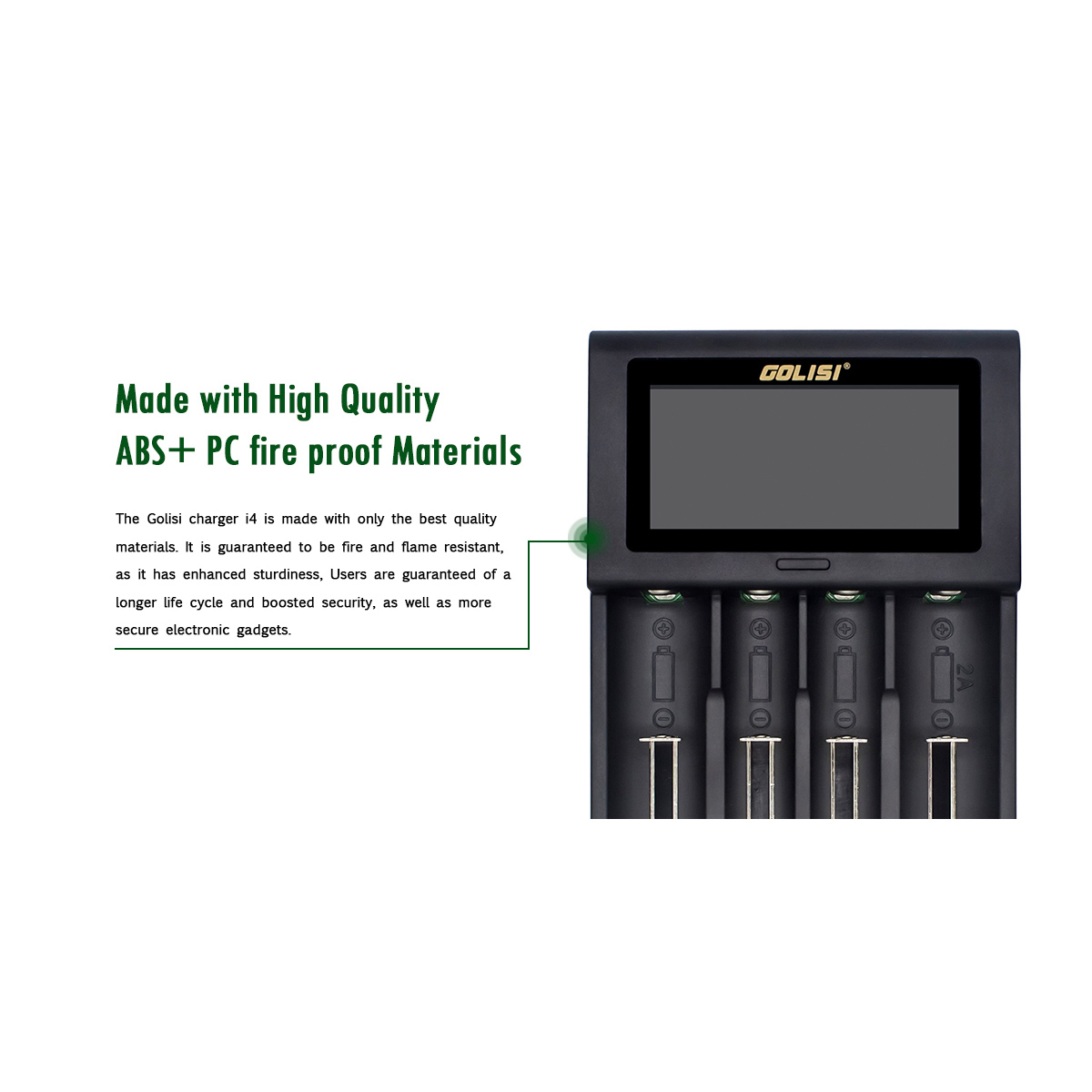 Golisi I4 2.0A Intelligent Lcd Charger Intelligent Fast Battery Charger For Li-Ion 18650 26650 20700 Aa Aaa Rechargeable Batte