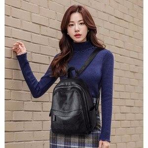 Image 3 - 2019 kobiet plecaki skórzane wysokiej jakości Sac Dos Femme panie plecak luksusowa projektanta plecak marki co dzień plecak na co dzień plecak