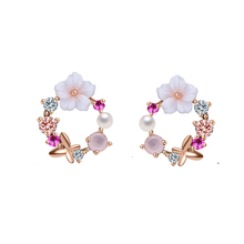 Korean New Colorful Flower Stud Earrings For Women AAA Cubic Zircon Rose gold Color Fashion Pear Earrings Wedding Bridal Jewelry blucome brand design rose gold color square cubic zircon ceramic earrings ring set chinese porcelain women wedding jewelry sets