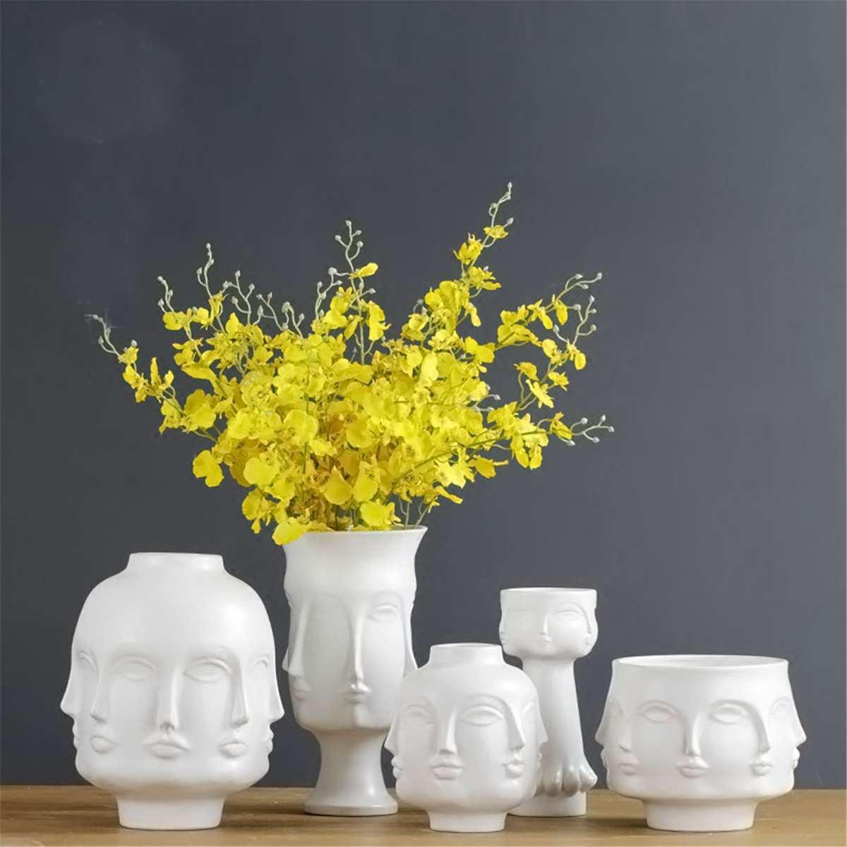 Ceramic Abstract Vase White Human Face Vases Display Room Decorative Figure Nordic Minimalist Head Shape Vase Flower Ornament