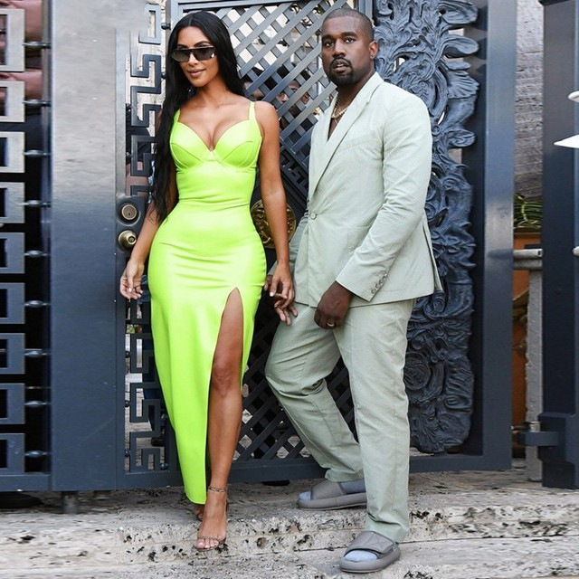 Synthetic Leather Halter Split Bodycon Kim Kardashian Outfit Dress 2